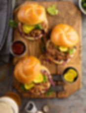 Pulled pork sandwiches with BBQ sauce, c