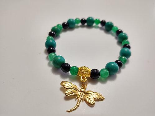 Jade, Black Onyx and Howlite Bracelet