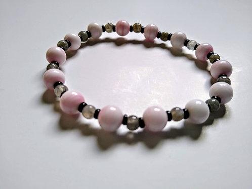 Pink Moonstone and Smoky Quartz Bracelet