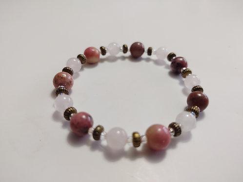 Rhodonite and Clear Quartz Bracelet