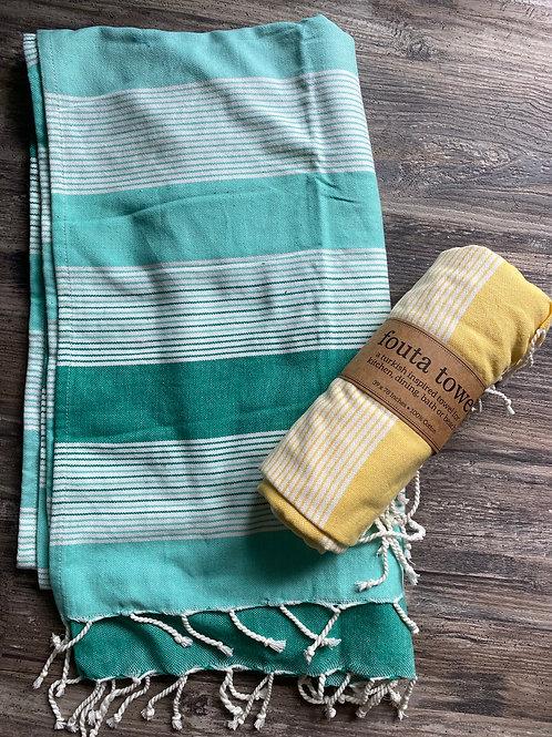 Aqua Stripe Fouta Towel/Throw