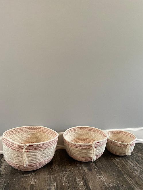 Hand-woven cotton basket