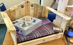 Dog bed and feeding trough