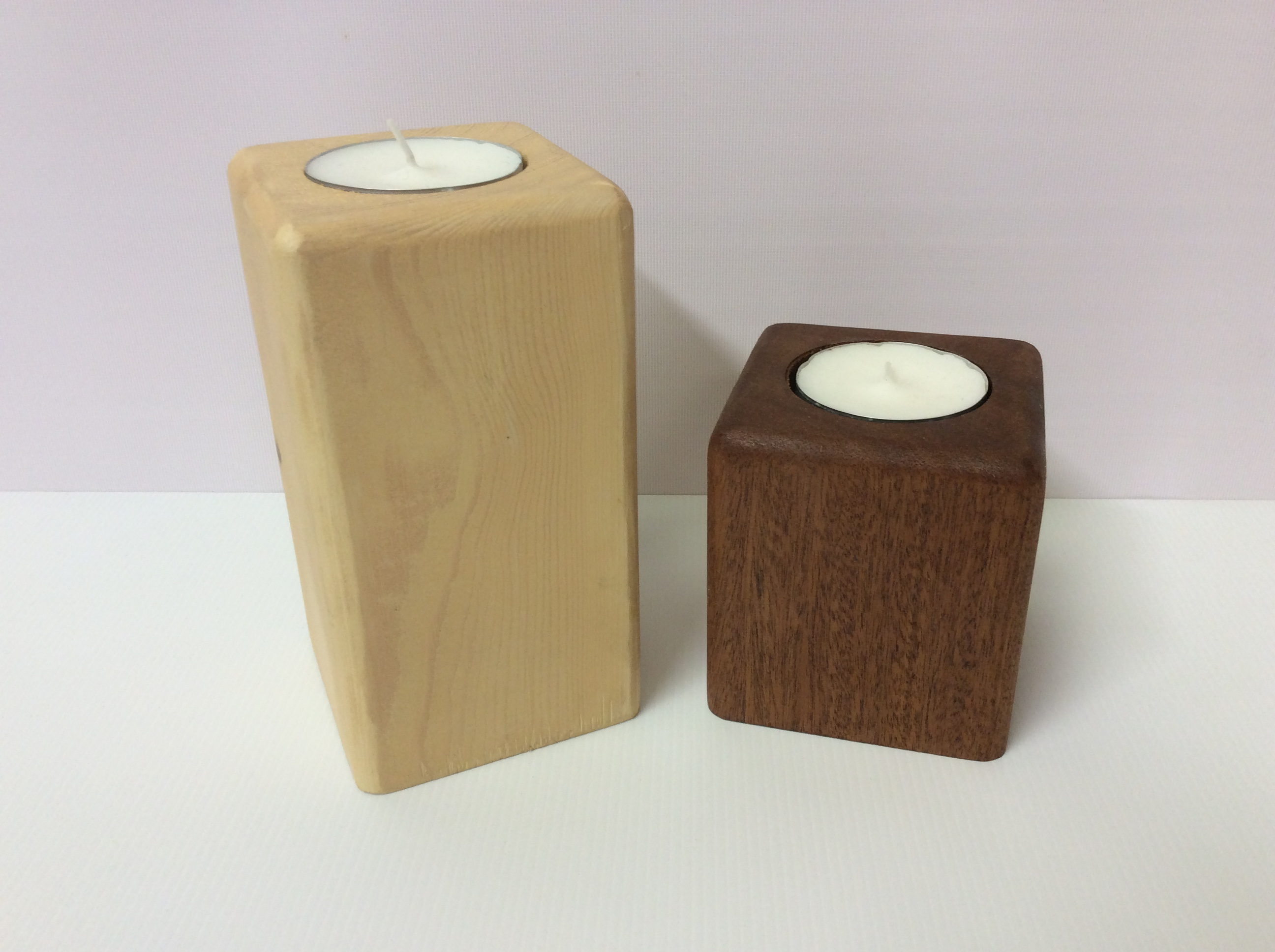 Wooden block tea light holders