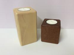 Wooden block tea light holders