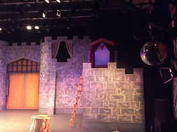 Stage right tower for spamalot set hire