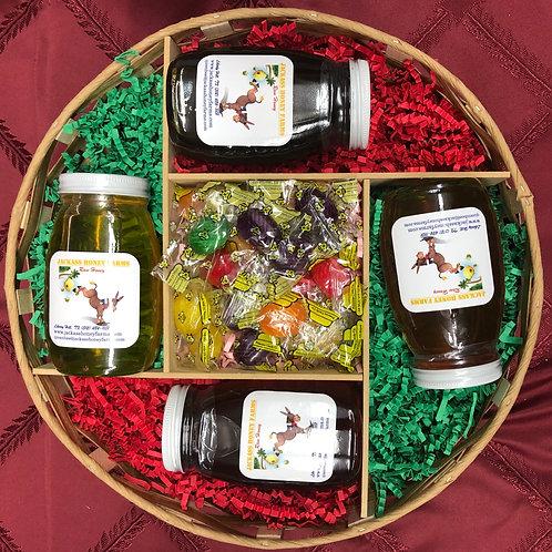 Round Honey Sampler Gift Basket