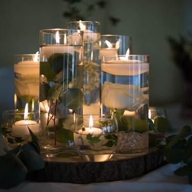 Wedding Table Lit Vases