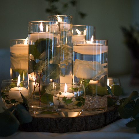 Wedding Table Lit Vases