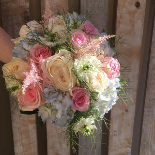Summer Pastels hand-tied Bride's bouquet