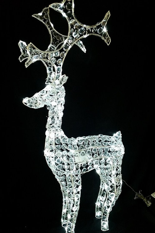 PREMIER 1M TWINKLING AND MOVING REINDEER WITH LED LIGHTS AND PRYSM DECORATION