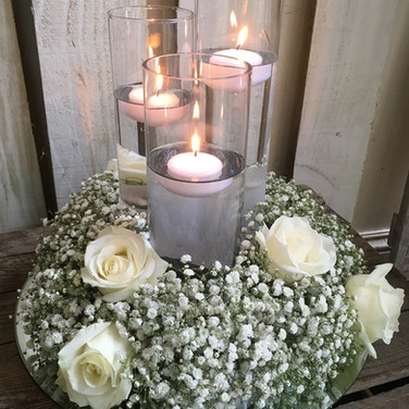 Gypsophila Candle Arrangement