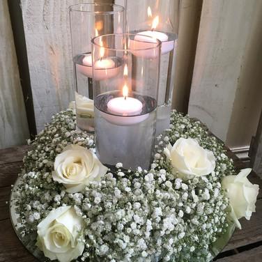 Gypsophila Candle Arrangement