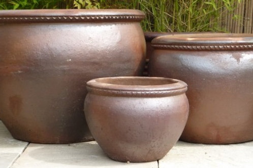 Large Rustic Pots. Wavy Rim Pot. 3 sizes.