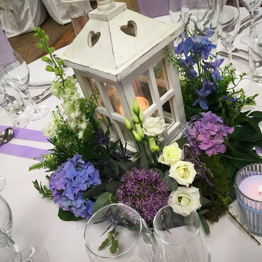 Shabby Chic Lantern Wedding Table Centrepiece