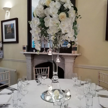 Gorgeous White wedding venue flowers