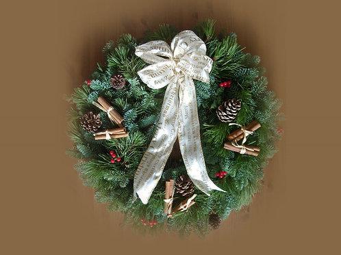 FESTIVE CREAM AND GOLD CHRISTMAS WREATH