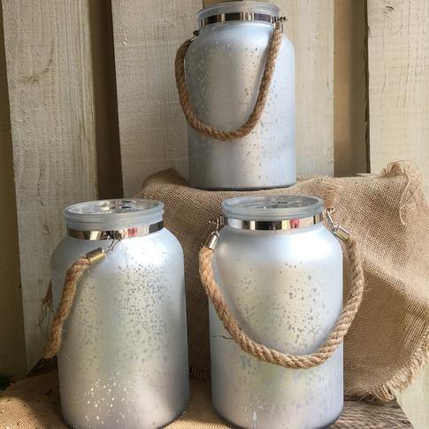 Large Silver Crackle Lit Vases