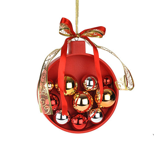 WOODEN RED BAUBLE WITH BAUBLE DECORATION