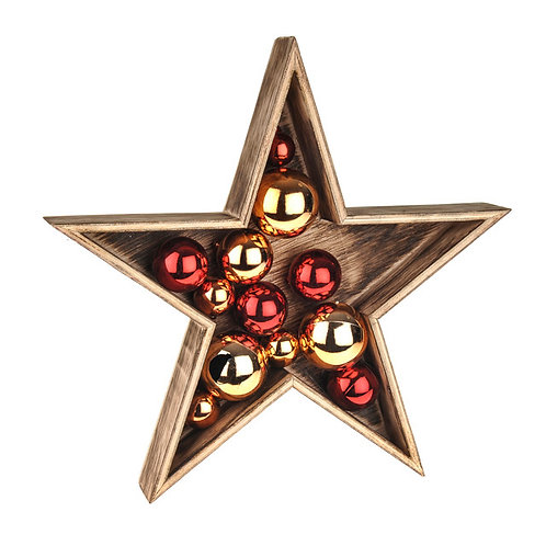 WOODEN STAR WITH BAUBLE DECORATION