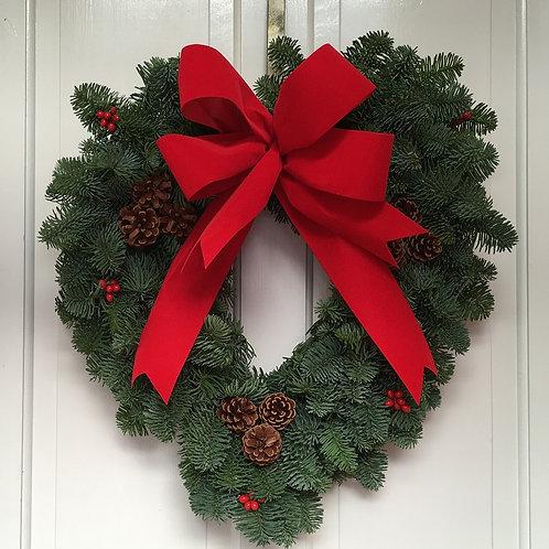LUXURY TRADITIONAL FRESH FOLIAGE CHRISTMAS HEART