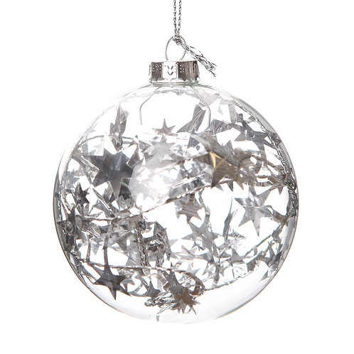 JKF TREE DEC GLASS BALL WITH STARS X2
