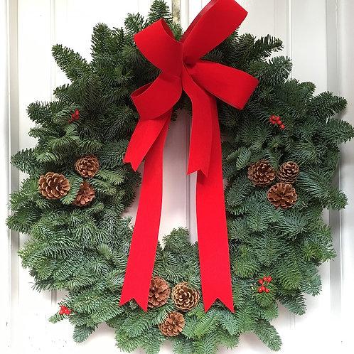 EXTRA LARGE LUXURY TRADITIONAL FRESH FOLIAGE CHRISTMAS WREATH