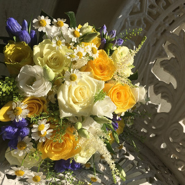 Beautiful Bridal Bouquet in Yellows, Whites and Blues.