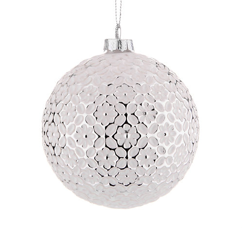 SWANLAKE CHRISTMAS BAUBLE WHITE WITH FLORAL DESIGN X 2