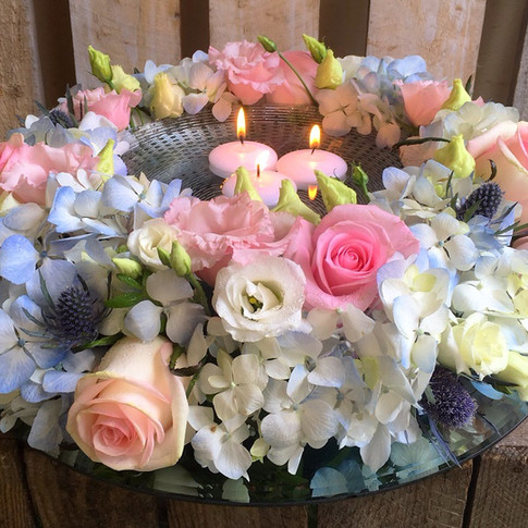 Romantic  Pastel Table Centrepiece with Floating Candles