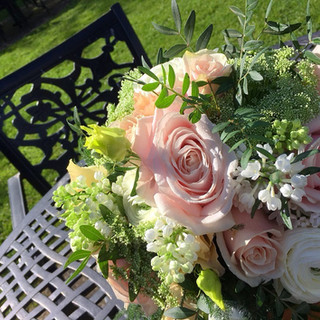 Pretty summer hand-tied wedding bouquet.