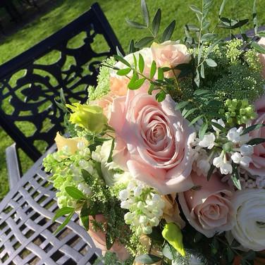 Pretty summer hand-tied wedding bouquet.