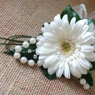 White Gerbra Ladies Corsage