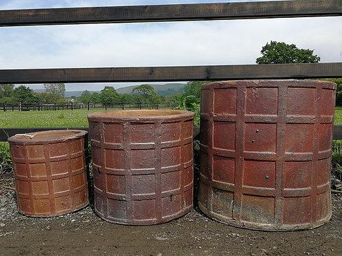Large Rustic Garden Checker Pot. Garden Planter.