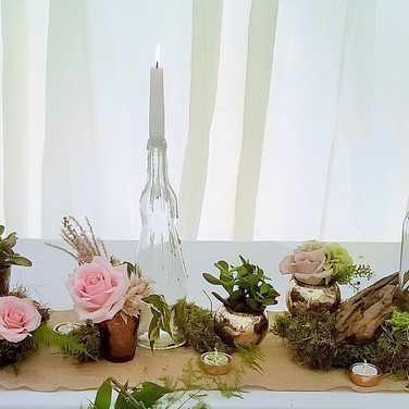 Rustic Charm Top Table Wedding Flowers