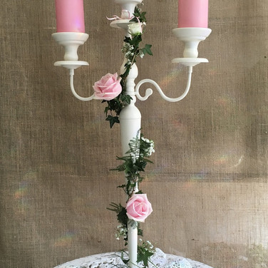 Contemporary Cream Wedding Candelabra.