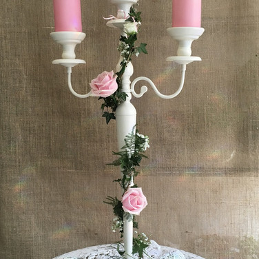 Contemporary Cream Wedding Candelabra.