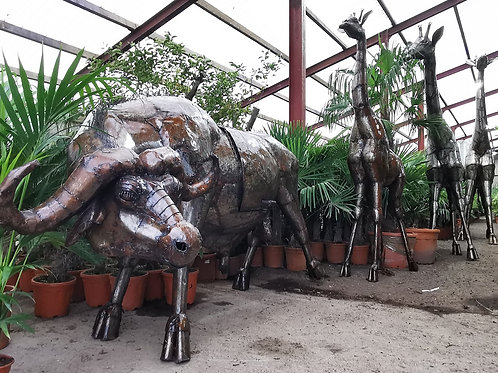 Bespoke Life size Metal Buffalo With BBQ