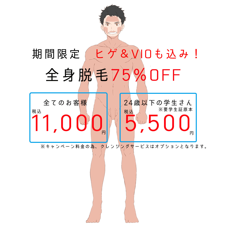 期間限定!全身脱毛44,000円が!