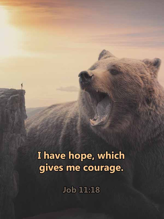 I have hope which gives me courage Job 1
