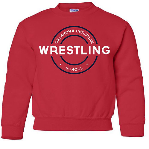 2609. OCS Wrestling Circle Youth Crew Sweatshirt - Red