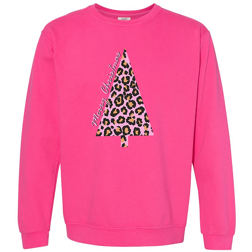 261-MB Leopard Christmas Tee-Comfort Wash-Neon Pink