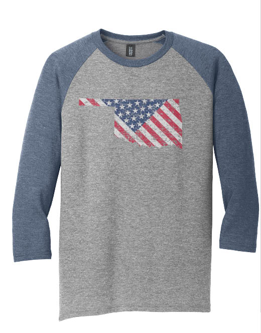OK State with Flag Faded Distressed