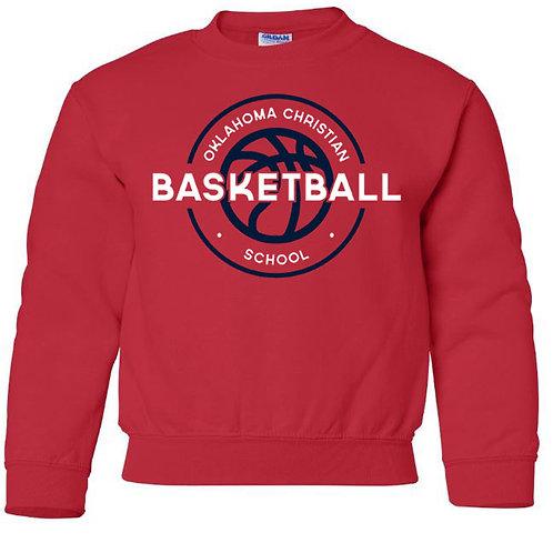 2110. OCS Basketball Circle Youth Crew Sweatshirt - Red