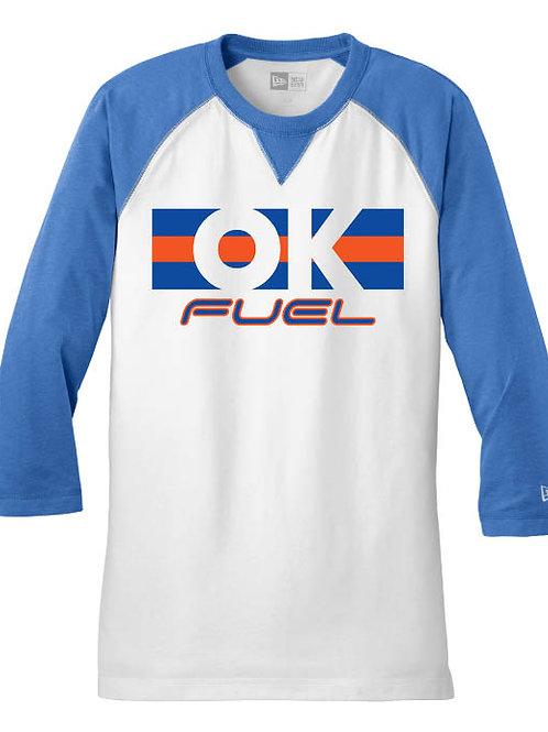 5042. - OK Fuel Stripes - New Era Baseball Raglan Tee