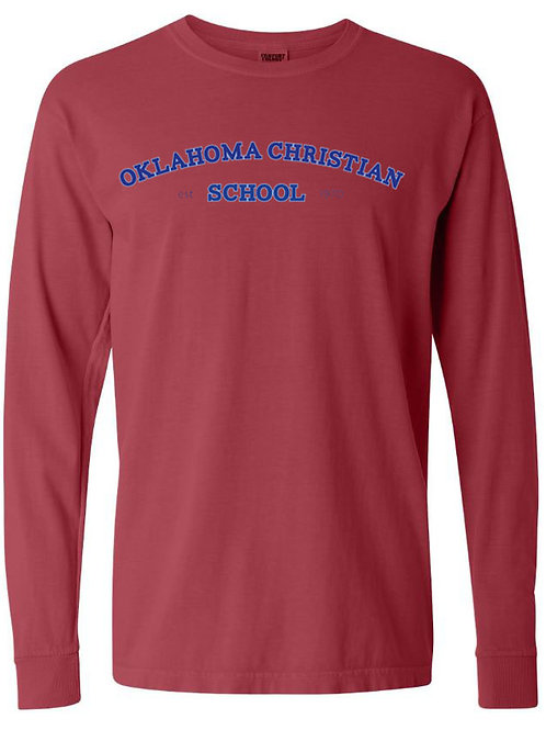 2800. OCS Arched - Comfort Color LS - Crimson