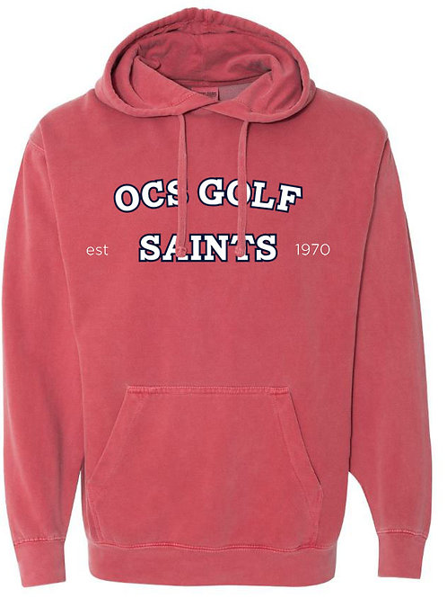 2415. Saints Golf Arched - Comfort Color Hoodie - Crimson