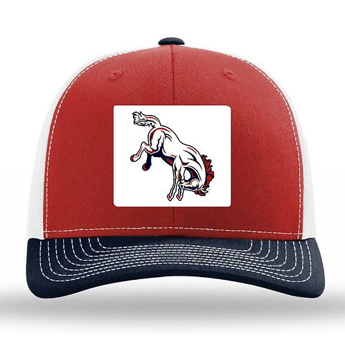 3034-OKC Broncos Trucker Hat-Patch Red/Navy/White