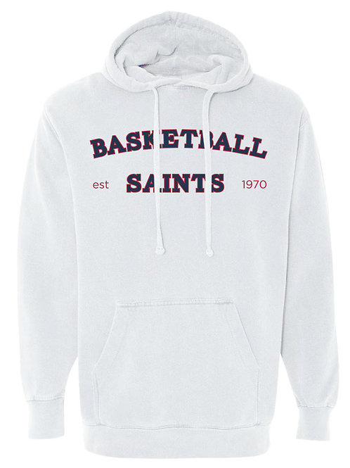 2116. Saints Basketball Arched - Comfort Color Hoodie - White
