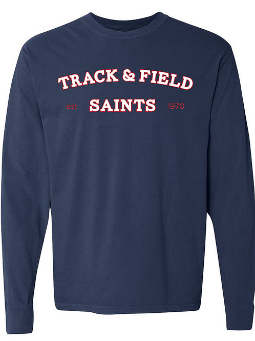 2518. Saints Track Arched - Youth Comfort Color LS - Navy